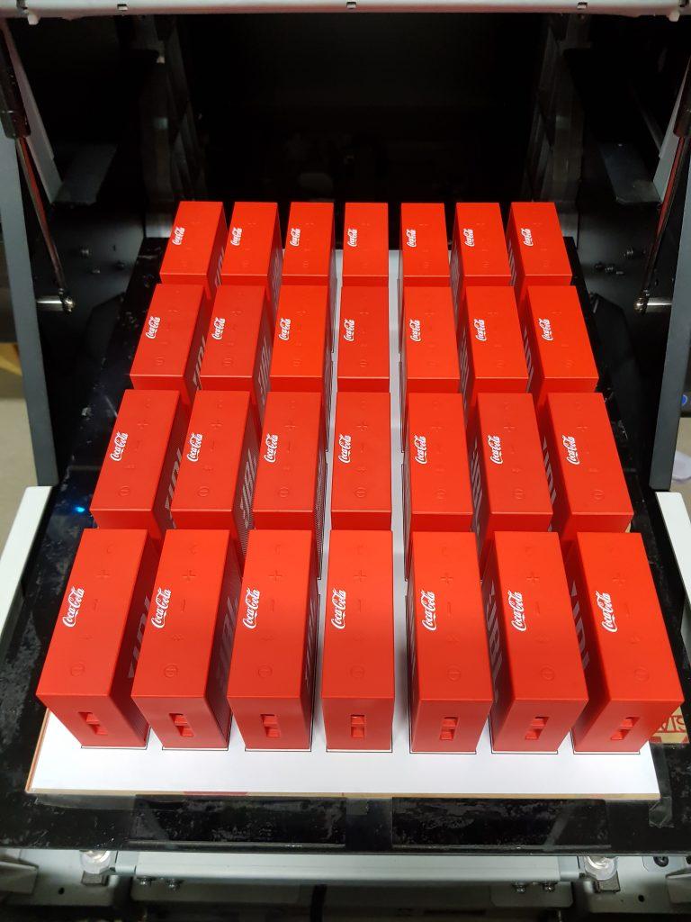 สกรีน logo ลำโพงพกพา bluetooth บลูทูธสีแดง
