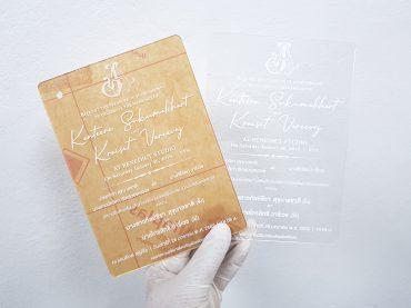 พิมพ์การ์ดแต่งงานอะคริลิคสีใส Acrylic Wedding Card
