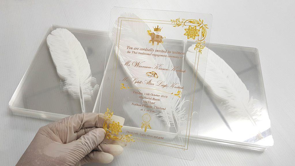 การ์ดแต่งงานอะคริลิคใส Acrylic Wedding Card