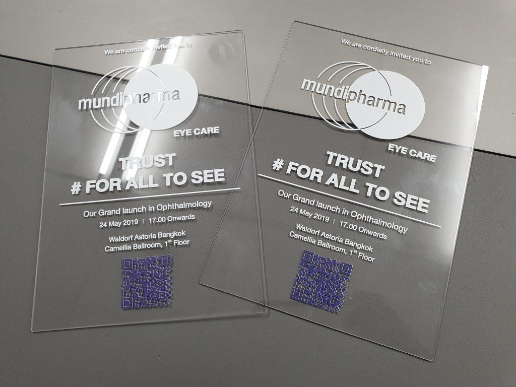 พิมพ์บัตรเชิญอะคริลิคสีใส Event Invitation Acrylic Card